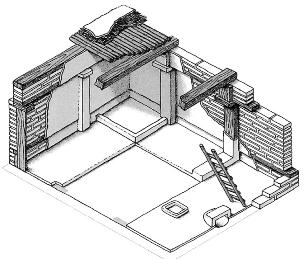 Fig 5. Artistic rendering of an unearthed Catal Hoyuk dwelling.