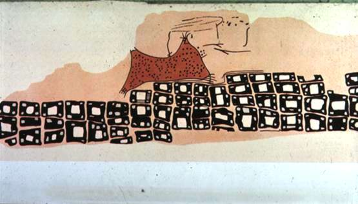 Fig 4. A wall painting from Catal Hoyuk. Showing a volcano and a layout of the city, this is a watercolor copy of a landscapeone of the first landscapes drawn that features no humans or animals.