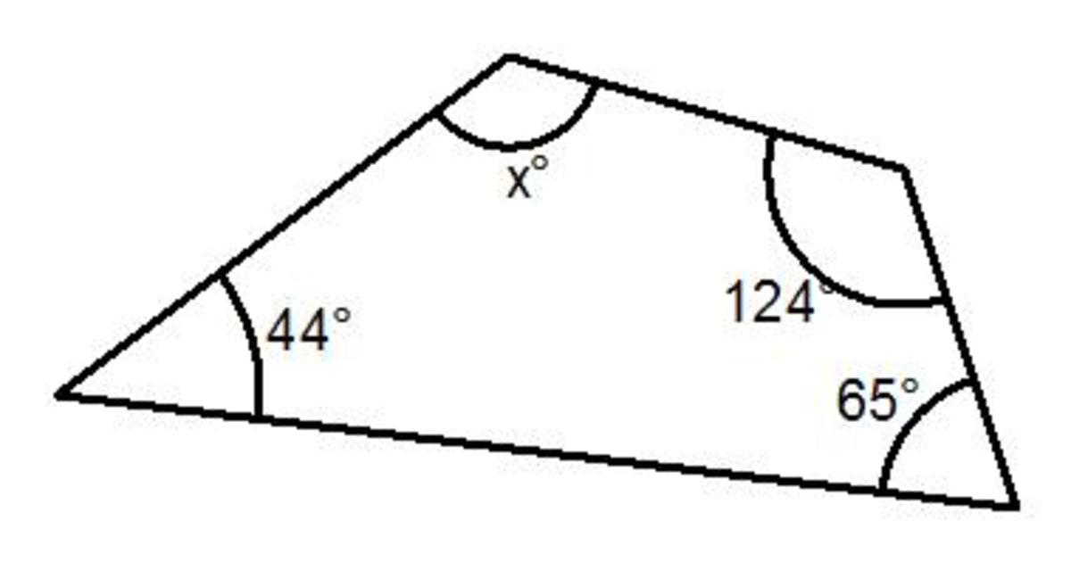 What is the sum of all the angles in a 4 sided shape (angles in a quadrilateral add up to 360 degrees)