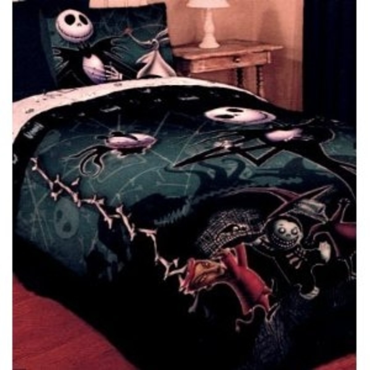 Nightmare Before Christmas Full / Queen Comforter with Jack Skellington Lock Shock and Barrel