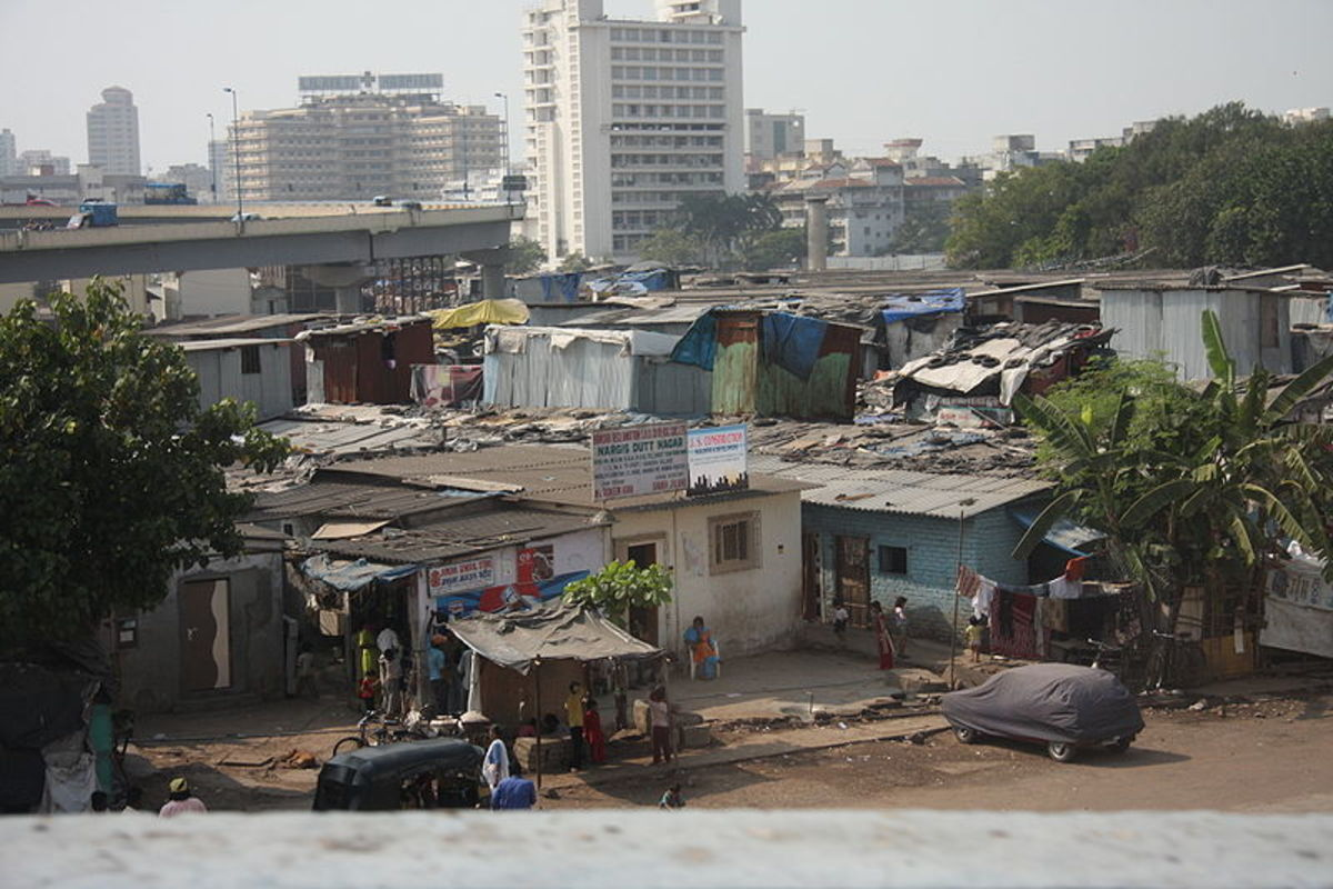 Inner city business district of a third world country living in poverty.