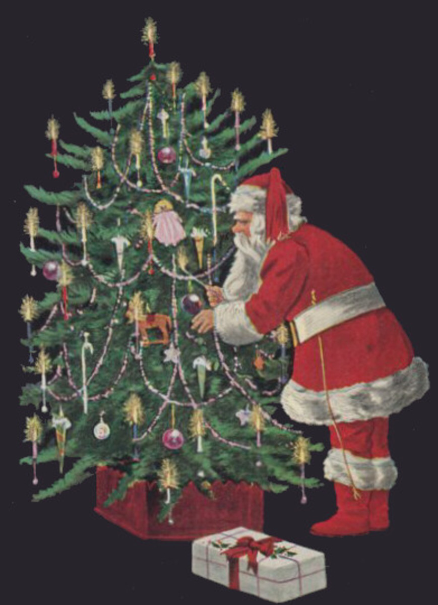 Santa Decorating Christmas Tree