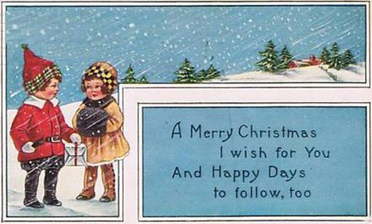 Art Deco Christmas Boy and Girl
