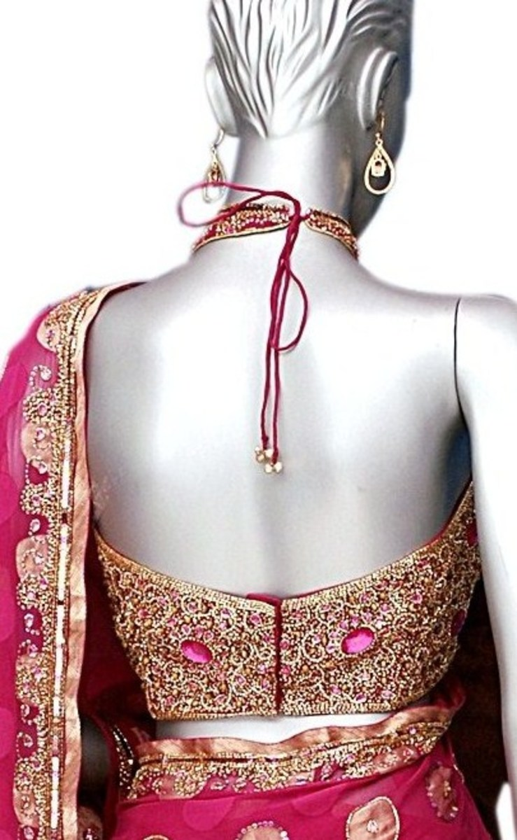 Pink Halter Saree Blouse