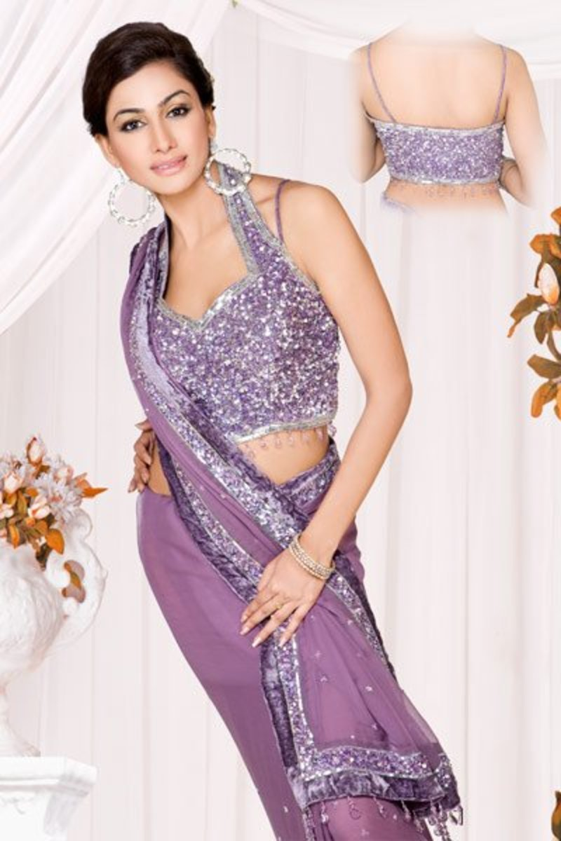 Purple Halter Sari Blouse