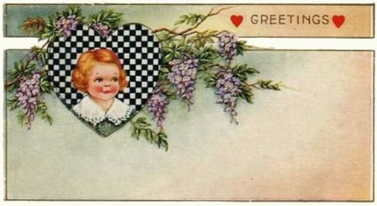 Art Deco Checkered Heart Girl