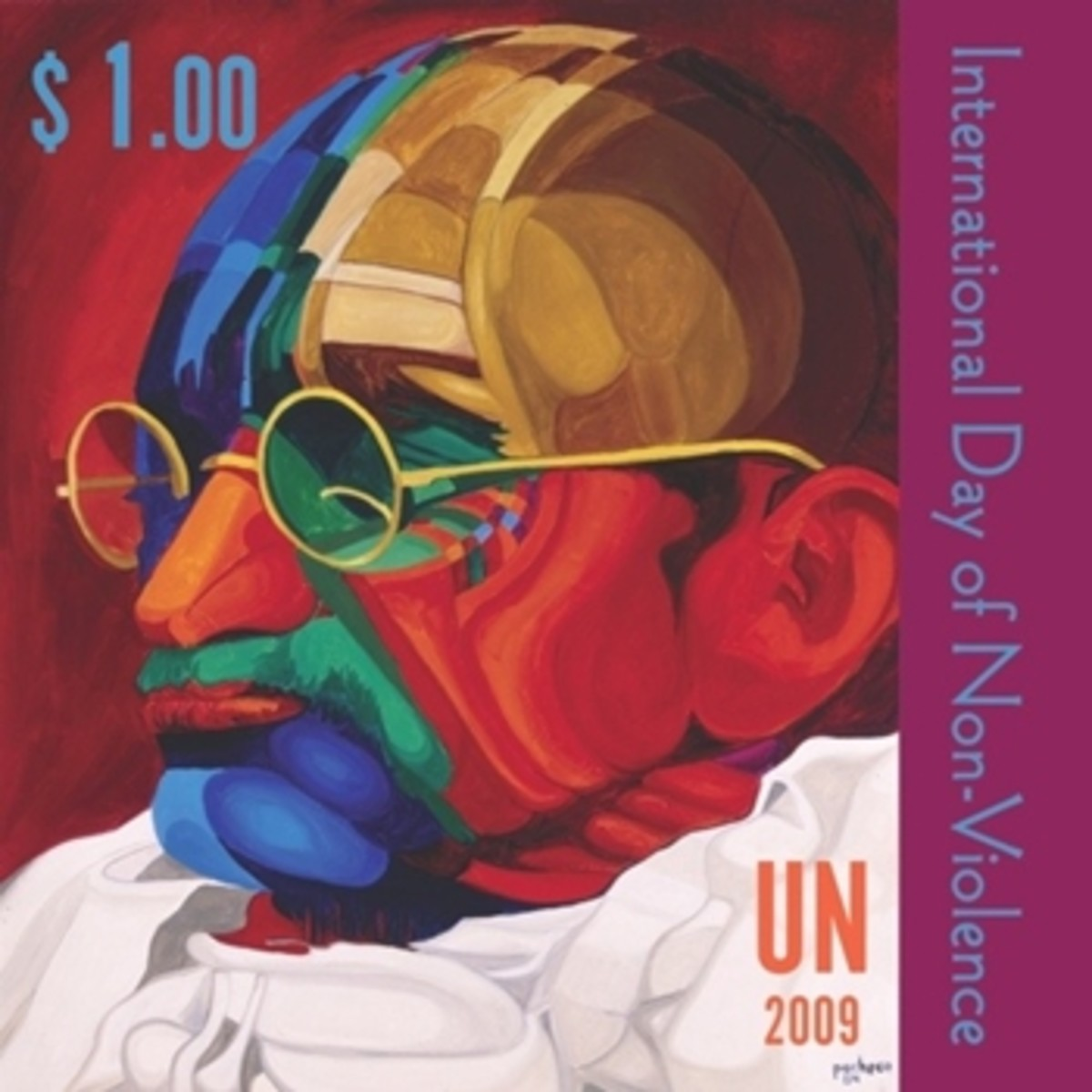 A special stamp on Mahatma Gandhi was issued by United Nations in 2009, declaring his Birthday as Day of Non-Violence