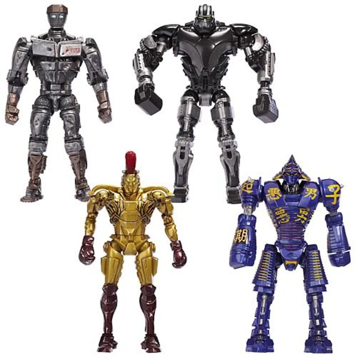 Real Steel robot names: Atom V1 and 'The King of Robots' Zeus, electric blue Noisy Boy and gold-plated Midas.