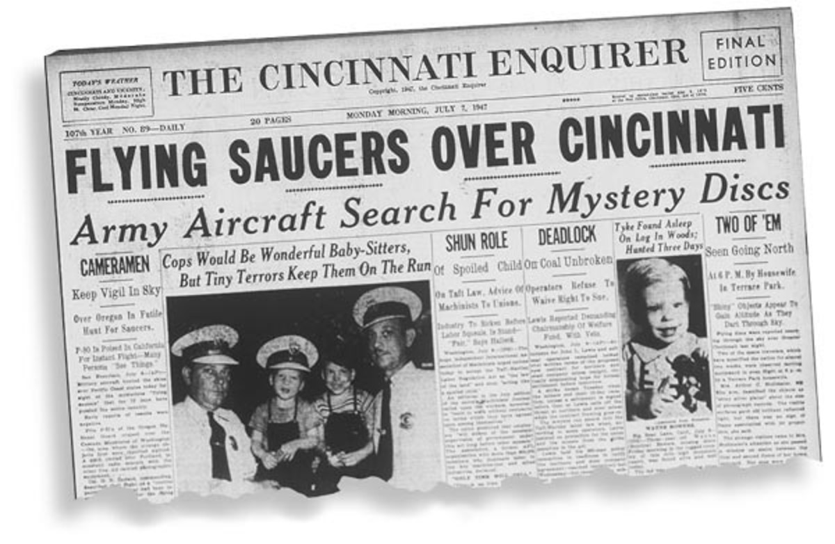 The Cincinnati Enquirer, July 7th, 1947. The day before Roswell.