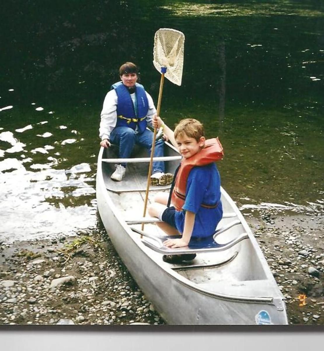 I told my son a story while we rowed in the boat.
