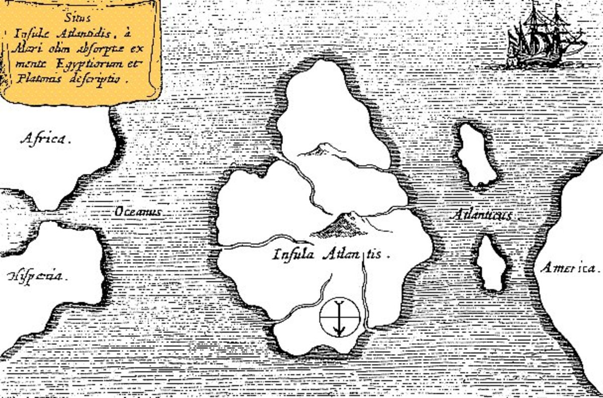 An ancient map of the city of Atlantis, by German scholar Athanasius Kircher