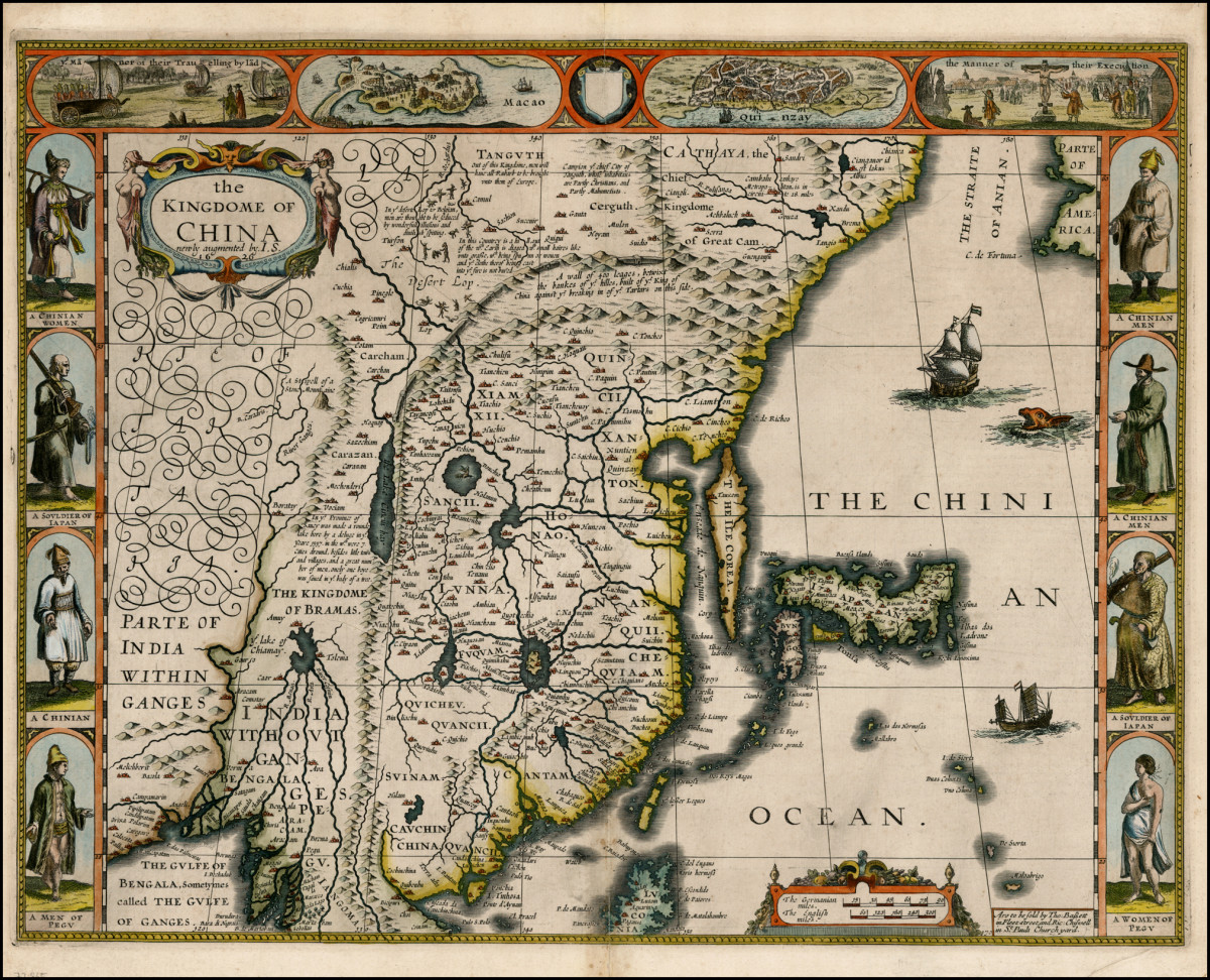 An antique Chinese map showing the location of Xanadu