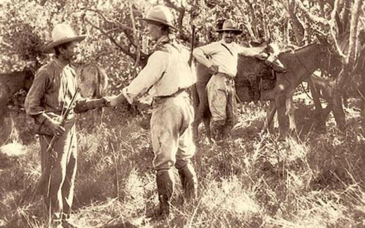 Col. Percy Fawcett in the jungles of Mato Grosso in Brazil exploring the lost city of Z