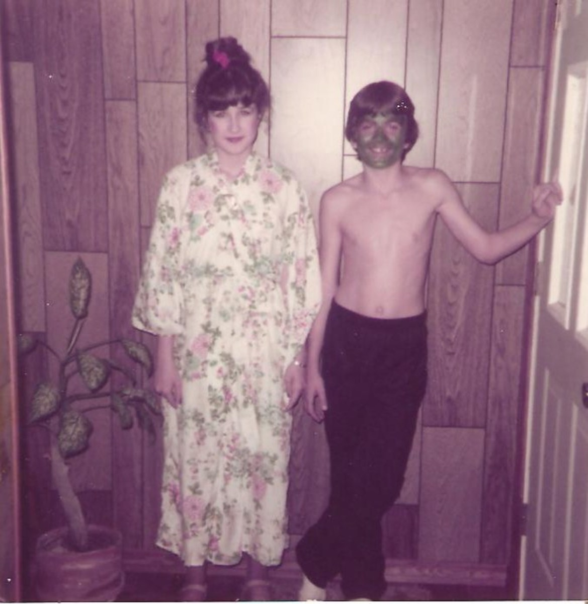 Me as a Geisha girl and my brother as the Incredible Hulk. Think he could use some more green on his chest and arms?