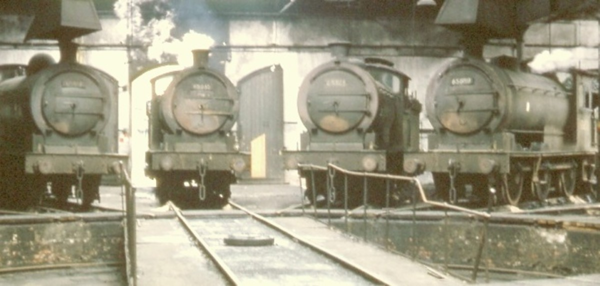 Class J27 (NER Class P3) 0-6-0 on shed at the turntable in the 1950s - 54A Sunderland South Dock). These loco's were built around WWI, mainly used on mineral workings in the region, but also served on mixed or pick-up goods runs