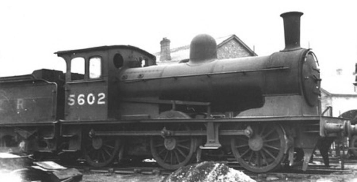 Designed by Wilson Worsdell for the North Eastern Railway in the 1890s, Class P (LNER/BR[NE J24]) passes Blowath on the Rosedale Railway with short mixed goods and 'Birdcage' brake in the 1920s before final closure in 1929. None preserved .