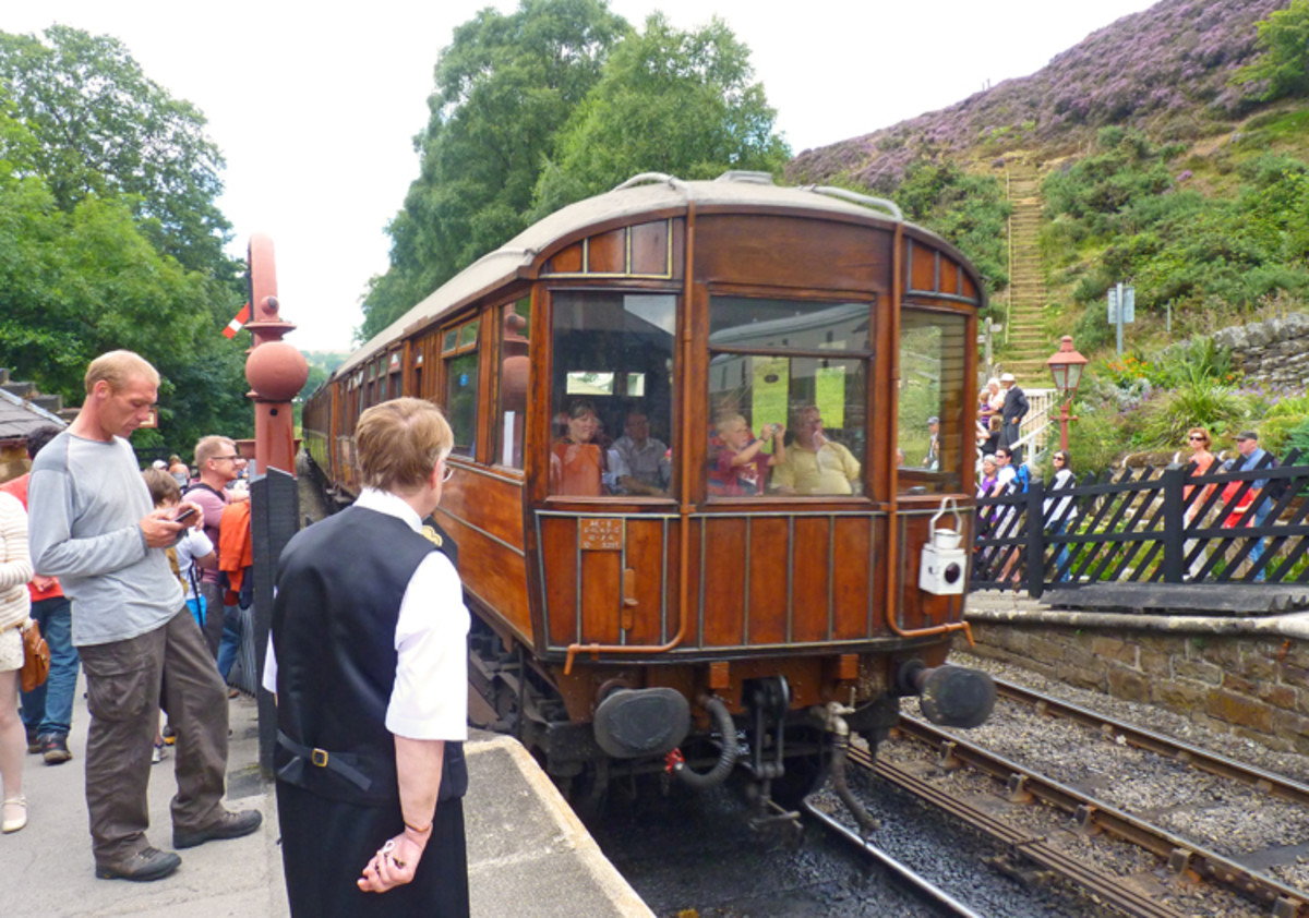 At Goathland, the next stop on the NYMR we see a grand-looking Gresley teak LNER Observation Car at the back of a train departing for Grosmont