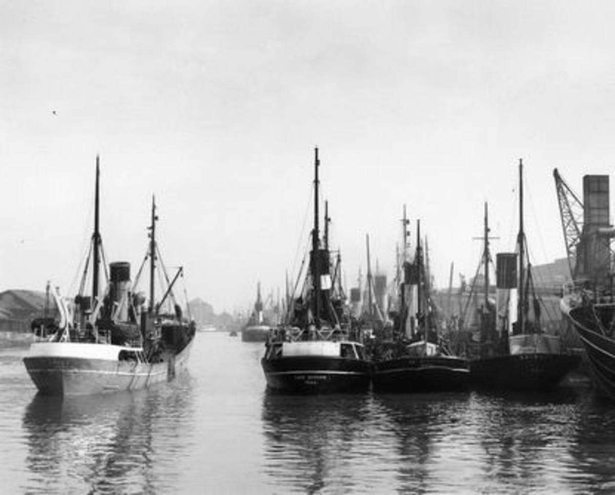 Fishing vessels in St Andrew's Dock, Kingston-upon-Hull (better known simply as Hull). Long fish trains departed daily across the network for other parts of Yorkshire and the South