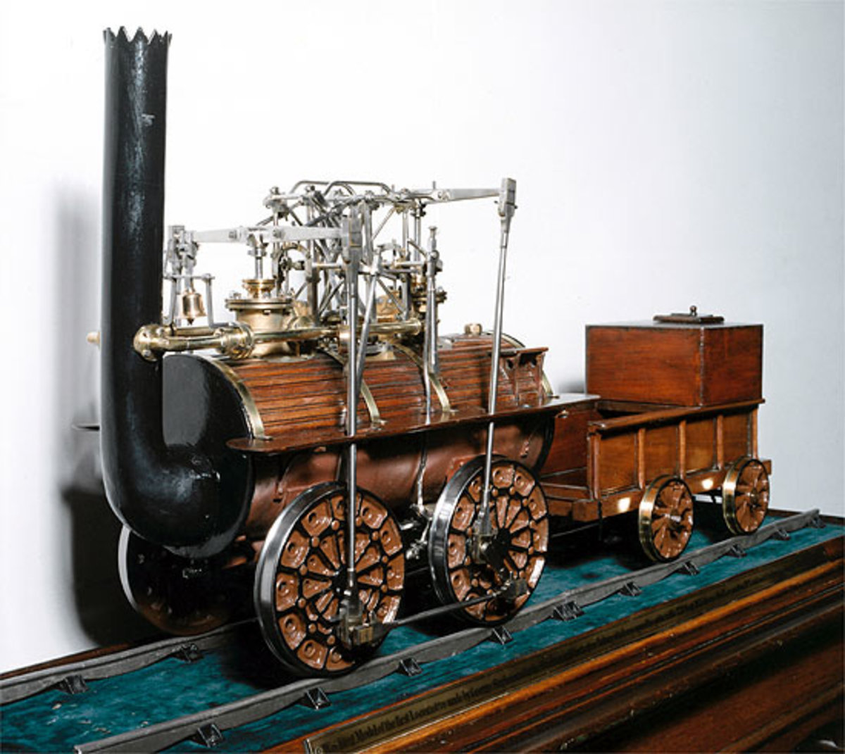 A model of Locomotion No1, built by Robert Stephenson & Co was built in 1825 for the opening of the S&DR - she ran until 'retired' in 1857, six years before the North Eastern Railway absorbed the S&DR