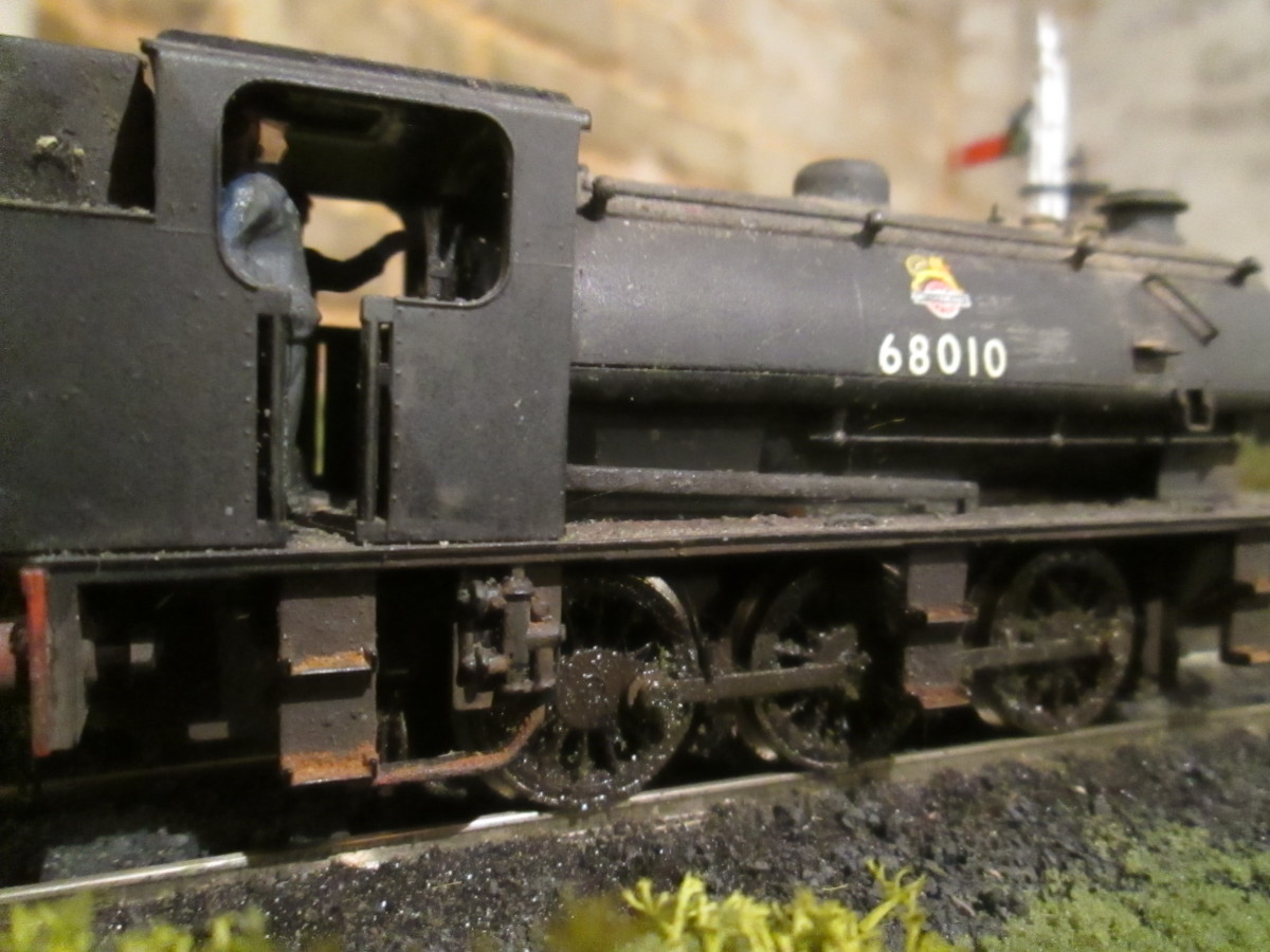 A Blaydon engine (52C),J94 0-6-0ST 68010 on shunting duties at Ayton Lane mpd (Thoraldby layout - modified Hornby product)