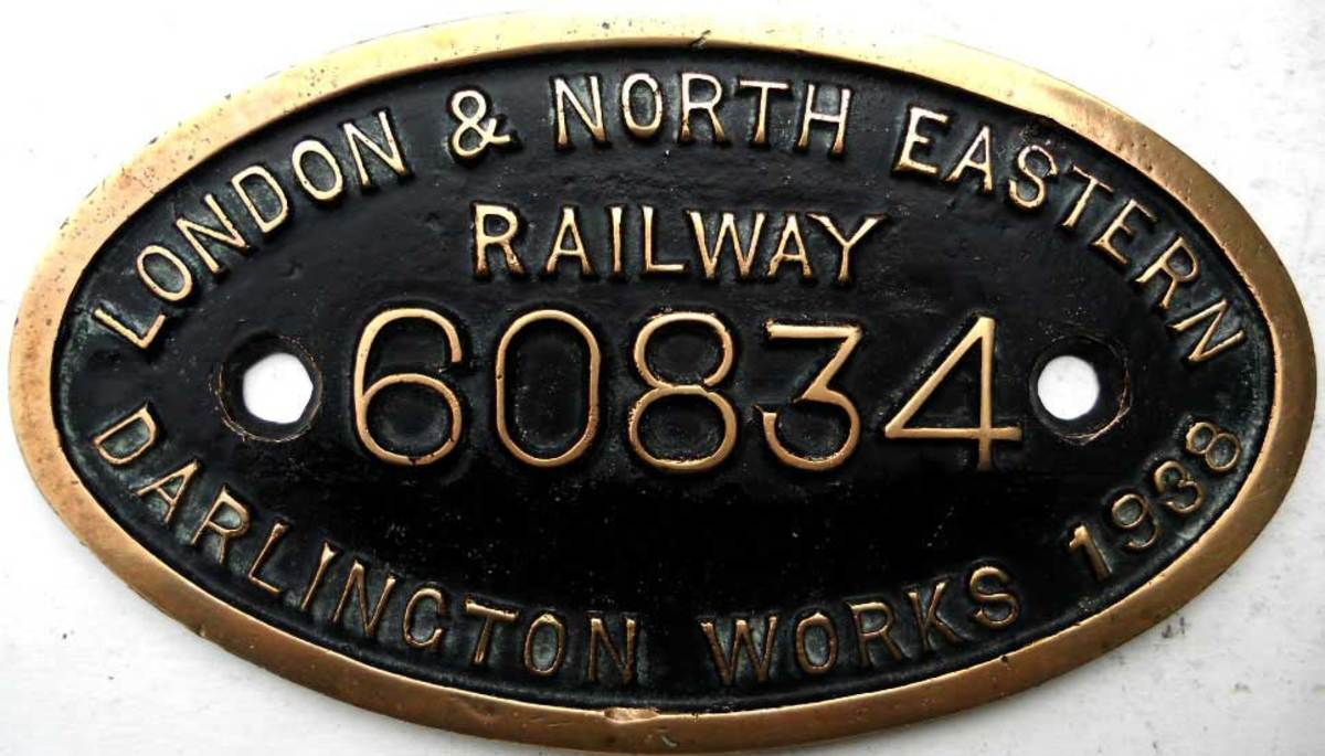 Darlington works plate for a V2 2-6-2 , shedded elsewhere on the 'system', still with LNER.identifier until the loco was scrapped