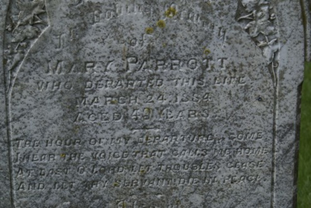 Mary Parrott died 24 Mar 1884, gravestone location 15e, St. Lauds, Sherington