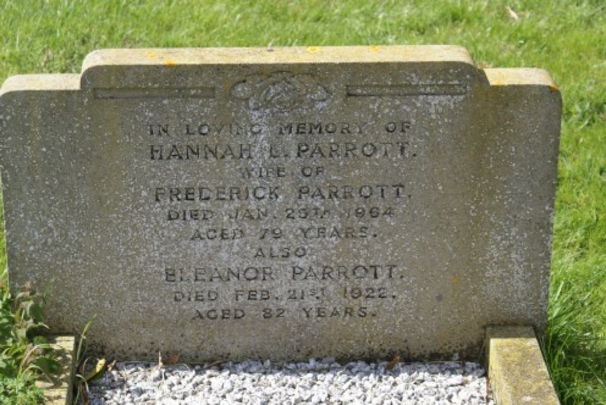 Hannah L. Parrott died 25 Jan 1964 and Eleanor Parrott died 21 Feb 1922, gravestone location 49b, St. Lauds, Sherington