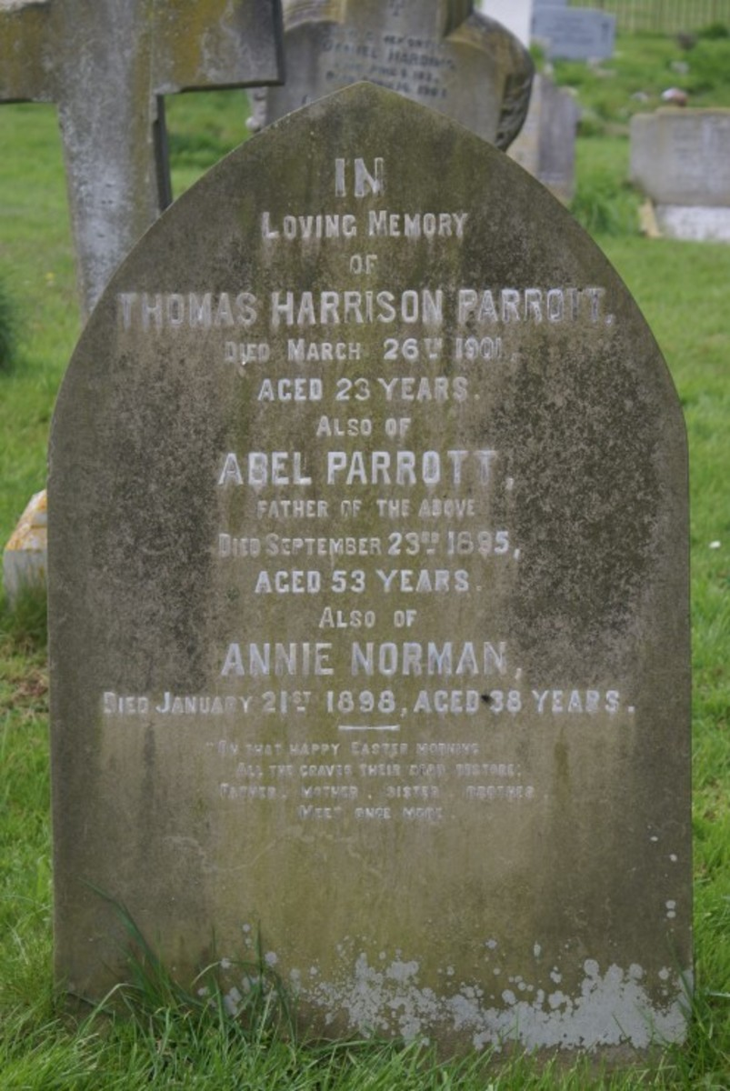 Thomas Harrison Parrott died 26 Mar 1901, Abel Parrott died 23 Sep 1895 and Annie Norman died 21 Jan 1898, gravestone location 81b, St. Lauds, Sherington