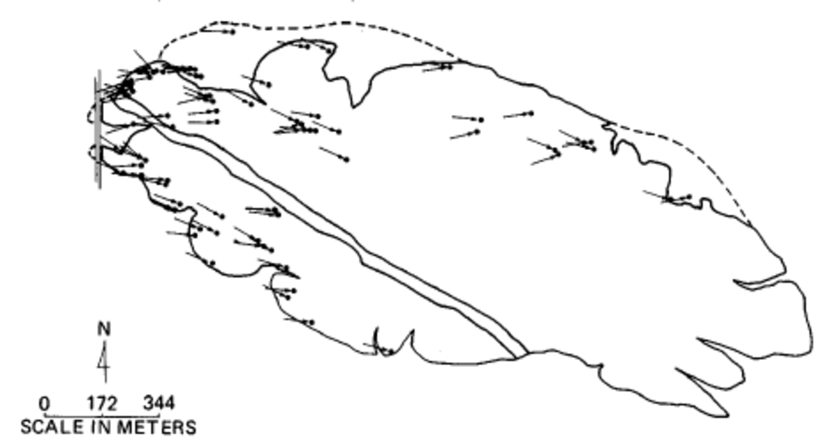 This Garnet Hill map shows the orientation of ventifact surface features that disclose the wind patterns over the hill.