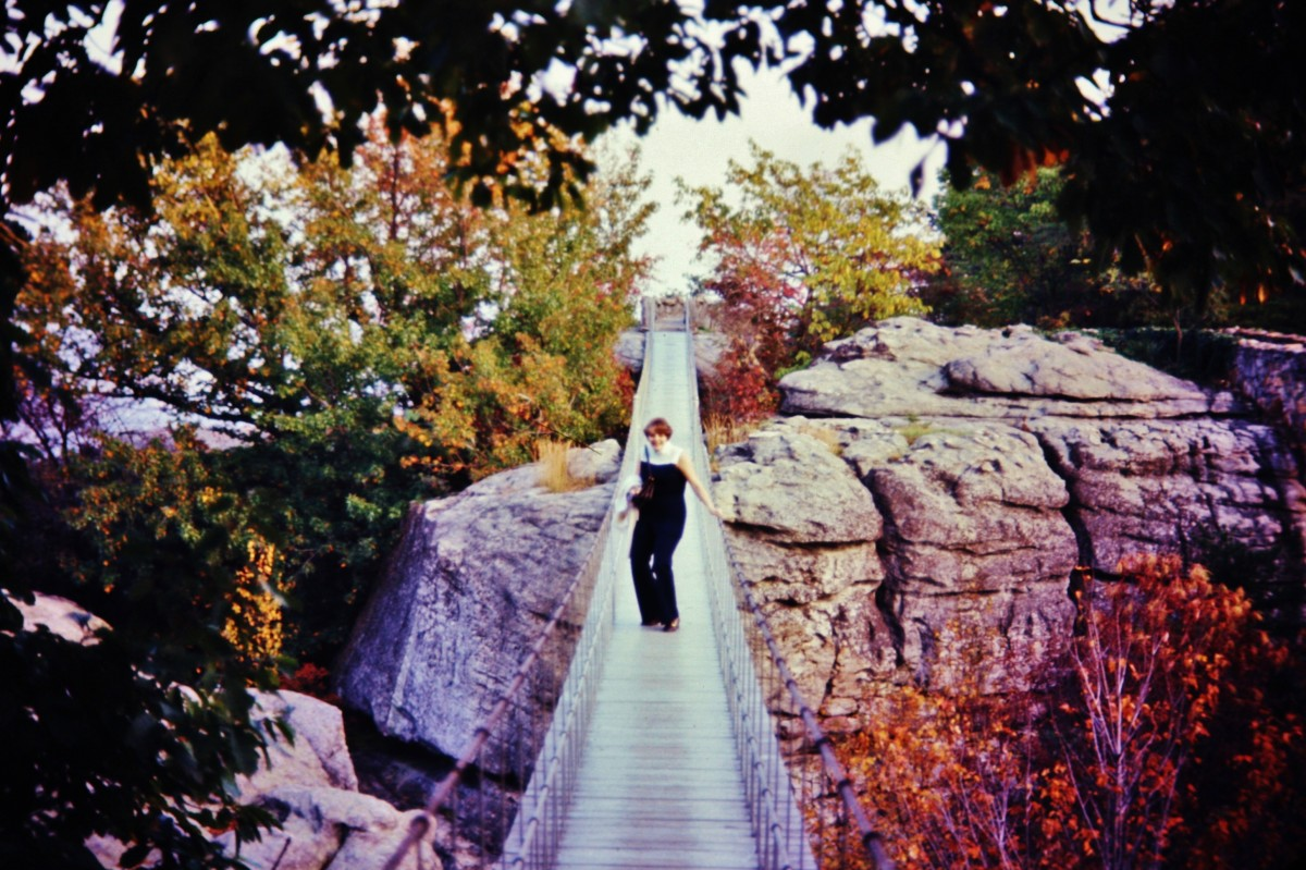 There I am on the swinging bridge at Rock City.