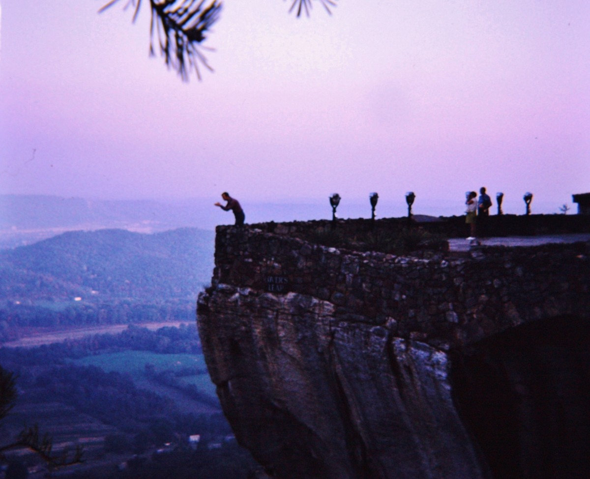 Image of my husband posing at Lovers Leap, Rock City.