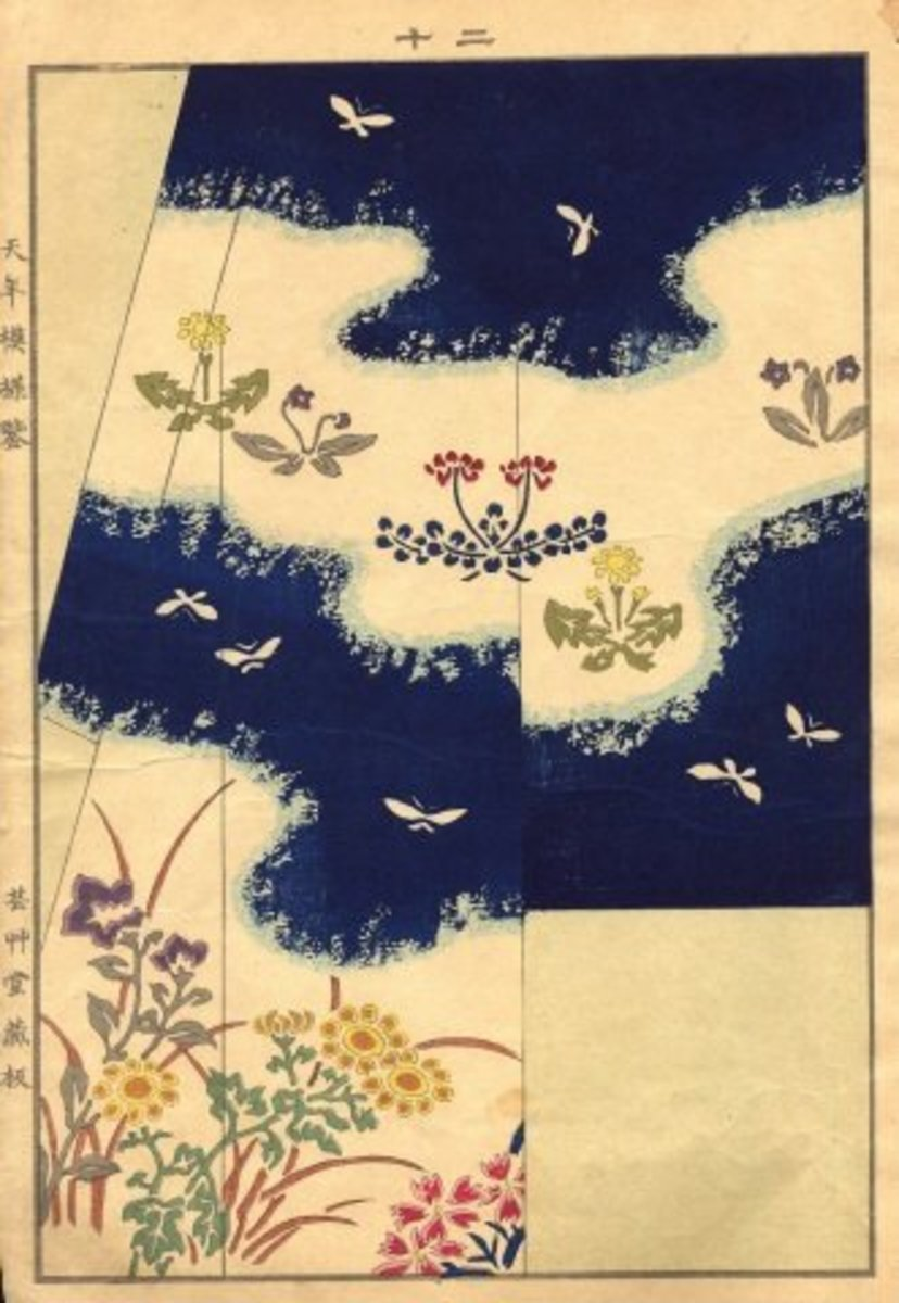 An illustration by an unknown artist of a butterfly kimono pattern from an 1885 kimono fashion catalogue.