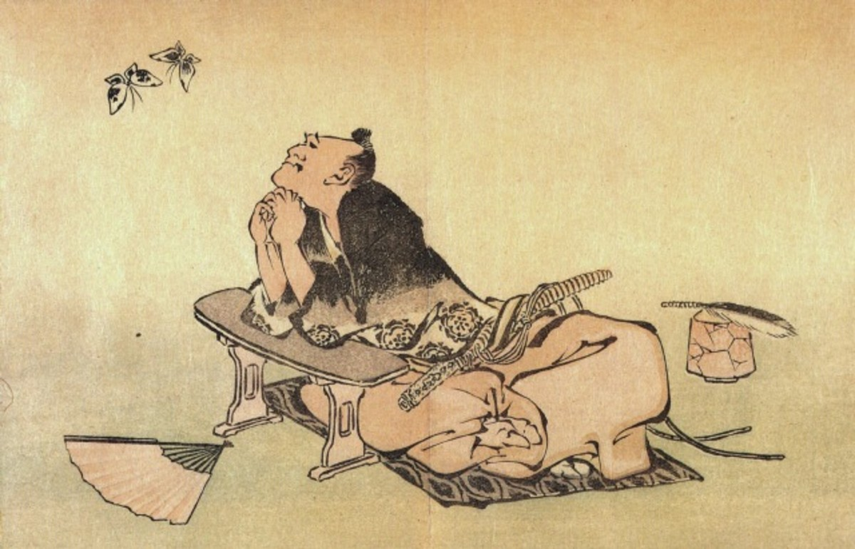 "Katsushika Hokusai's famous 1814 print ""Philosopher Watching a Pair of Butterflies"". Is he the Chinese philosopher Zhuangzi (as is widely speculated), who had a dream about being a butterfly? Or another philosopher contemplating life as a butterfly?"
