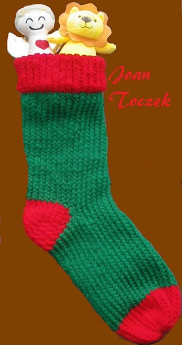Christmas Stocking Pattern for the Red, Round Knifty Knitter Loom
