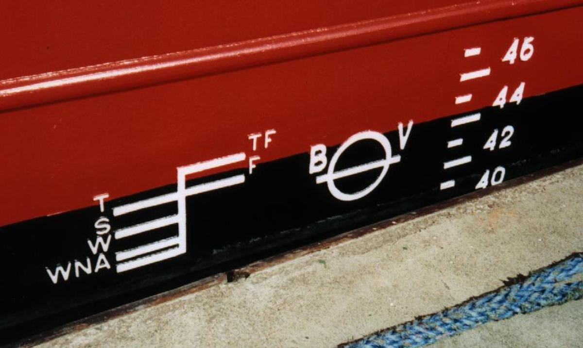 The Plimsoll line indicates the safest immersible depth of a ship.