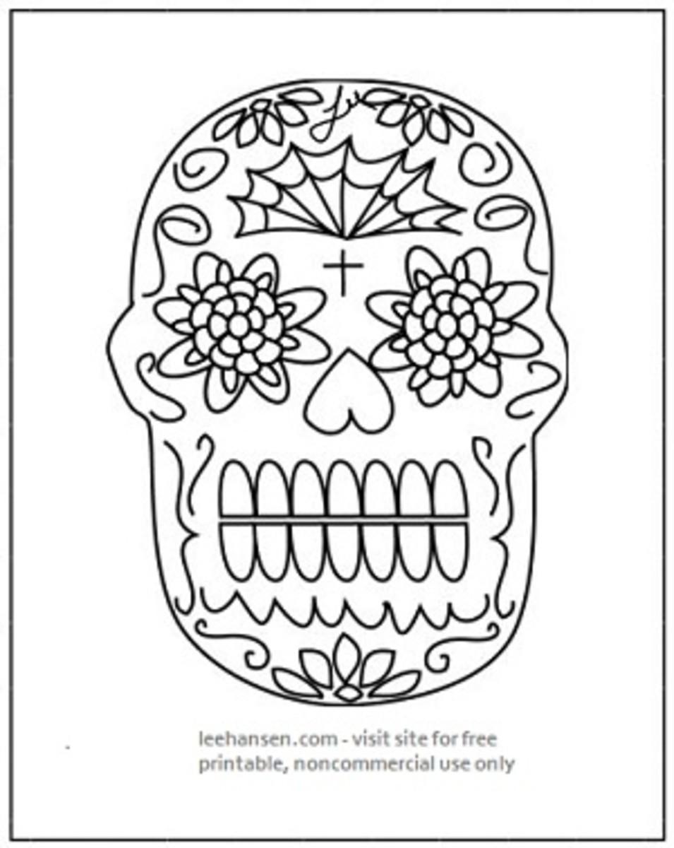 Printable Day of Dead sugar skull drawing