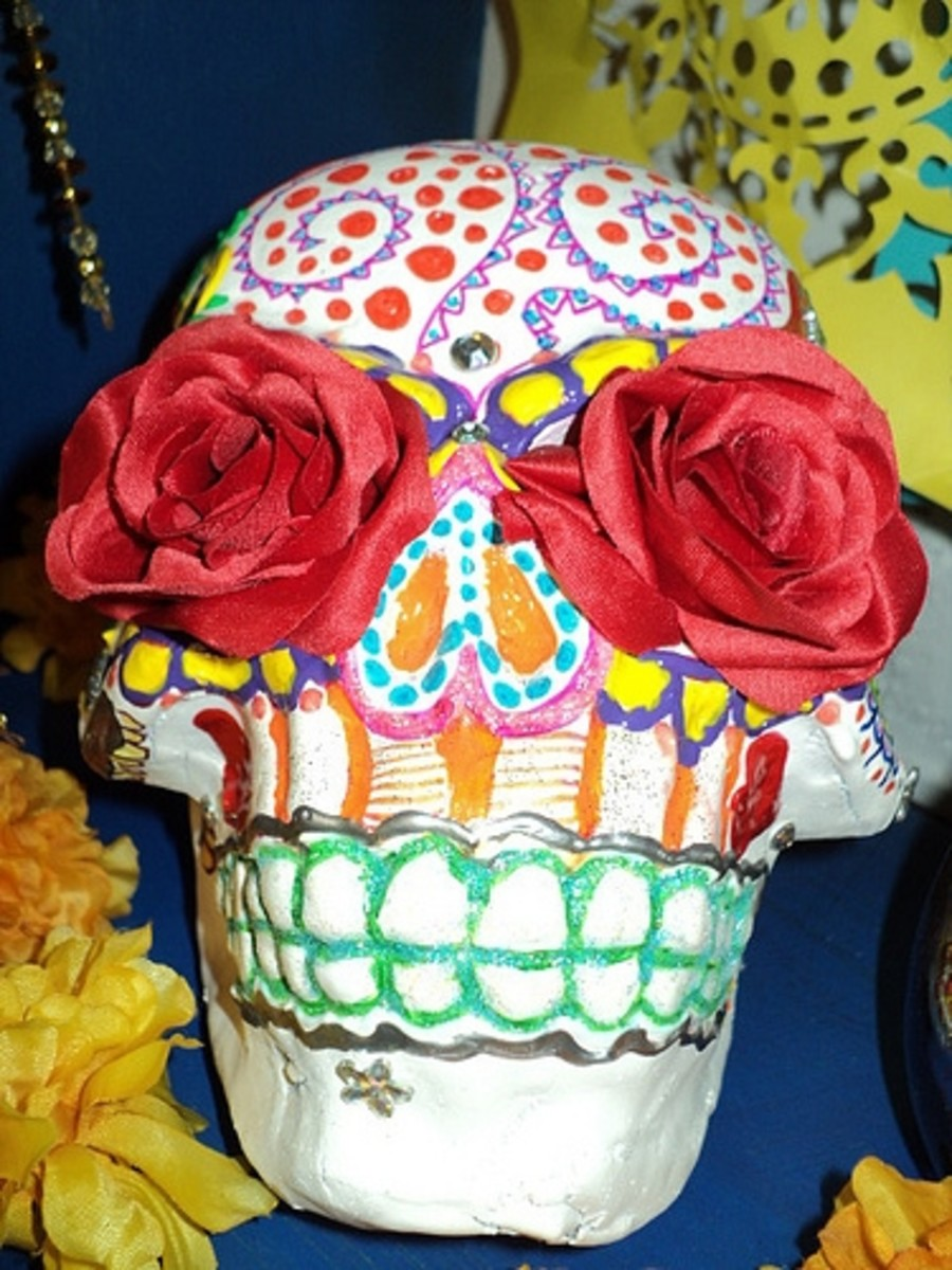 Offrenda, photo sugar skull with roses