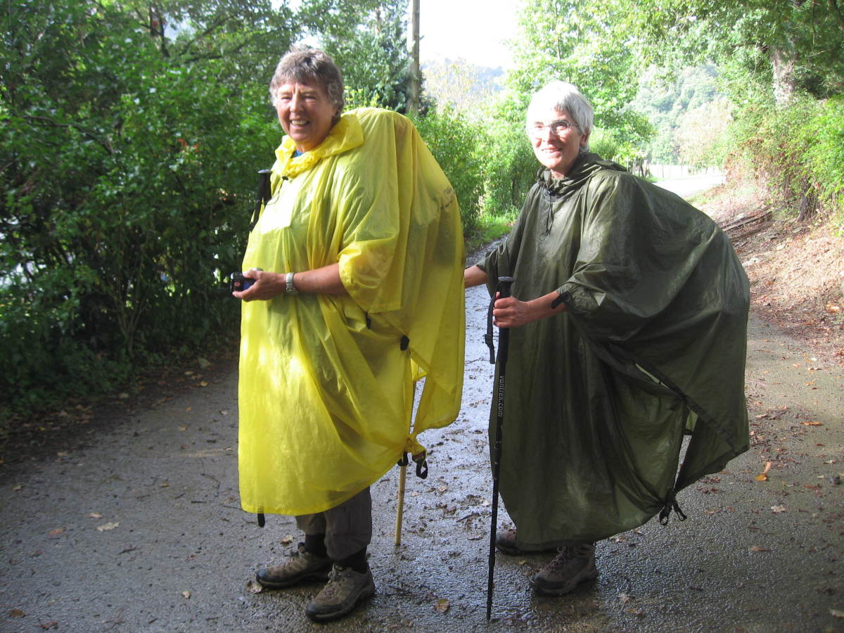 Here are us modern pilgrims in the rain