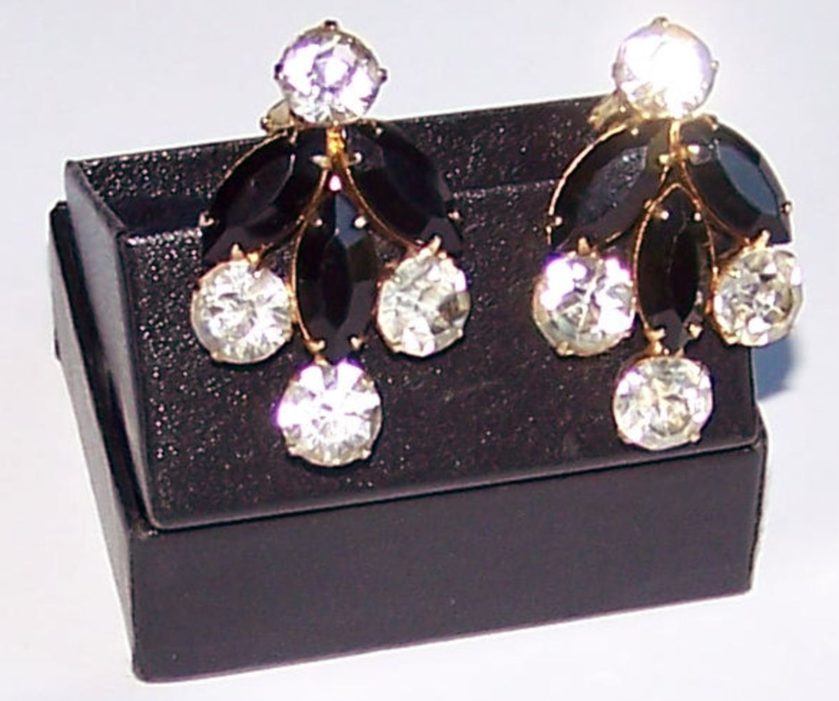 Classic crystal and onyx earrings with patented clips
