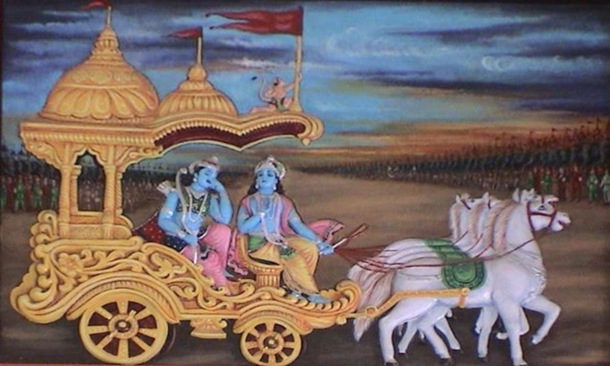 Krishna and Arjuna at battlefield.