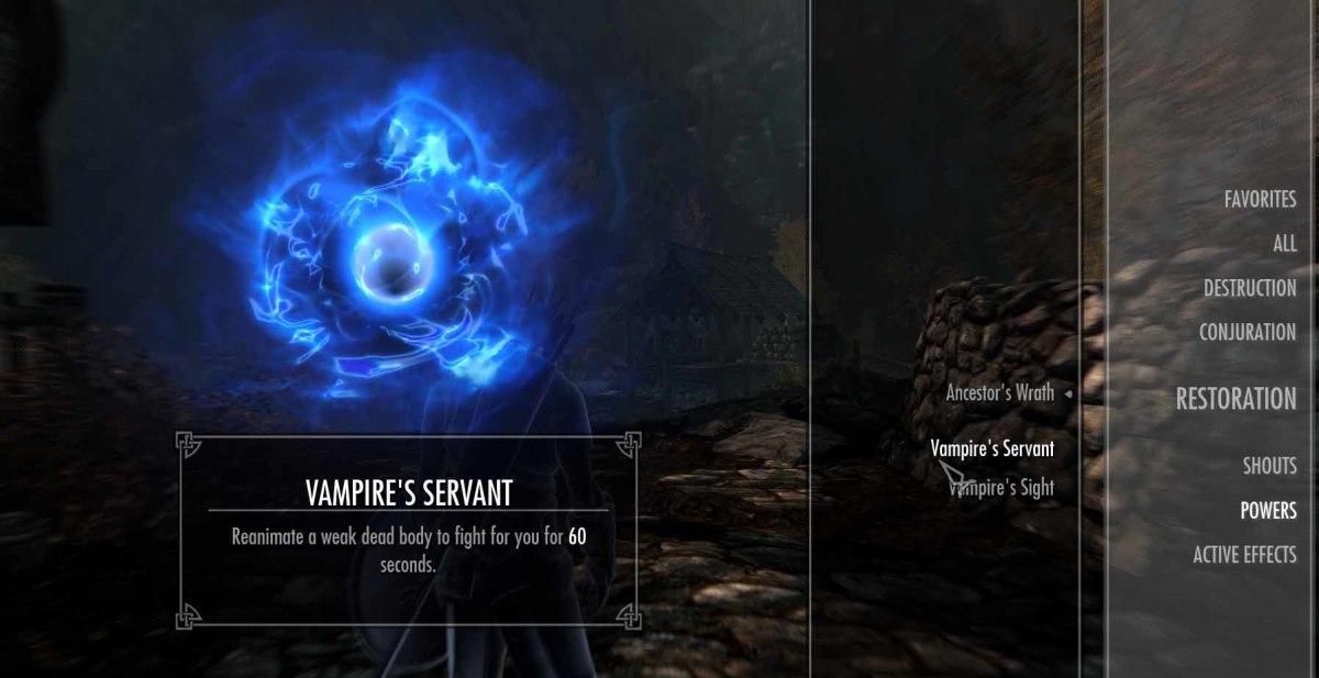 Skyrim Vampire Powers - Press P and scroll to check on vampire powers (vampire servant seen here)