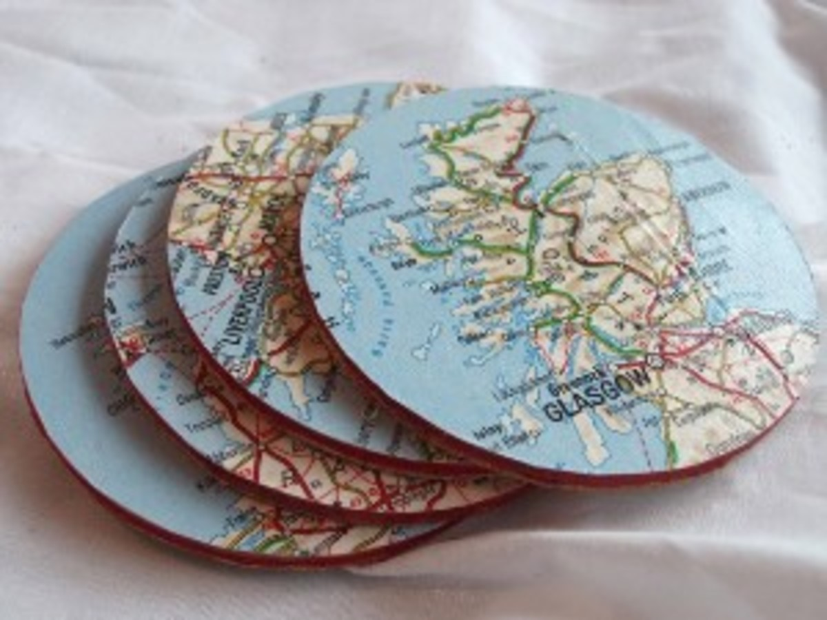 These handmade map coasters would look great on Dad's coffee table!