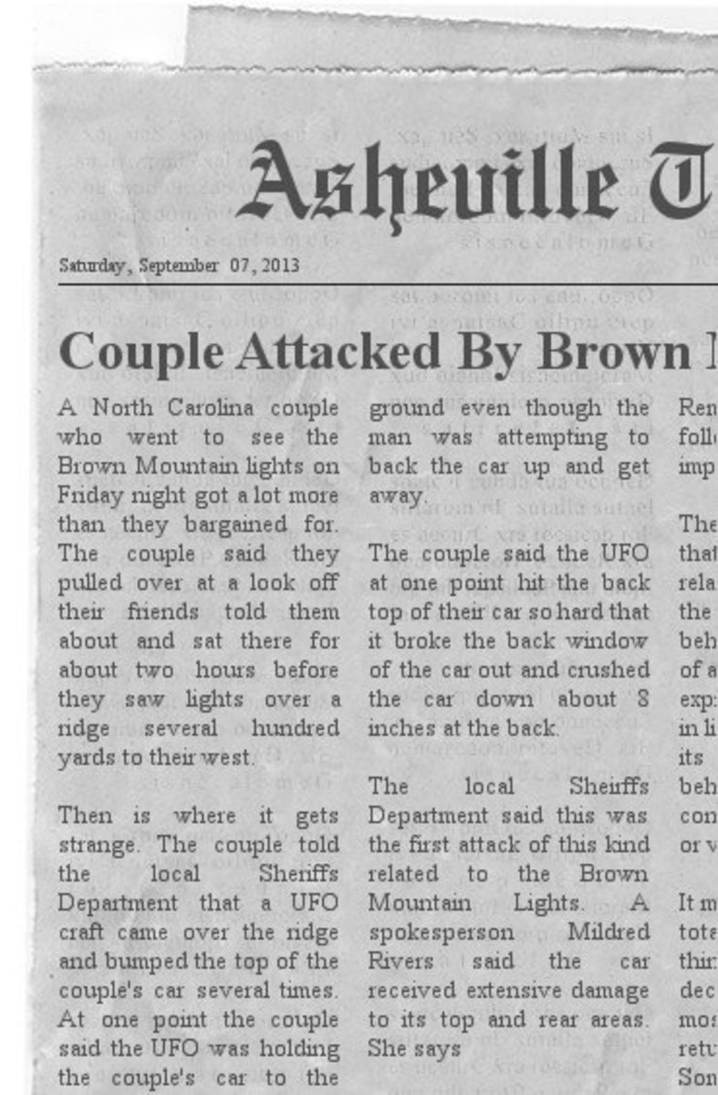 Couple Attacked By UFO while watching the Brown Mountain Lights On the night of Friday September 6th.