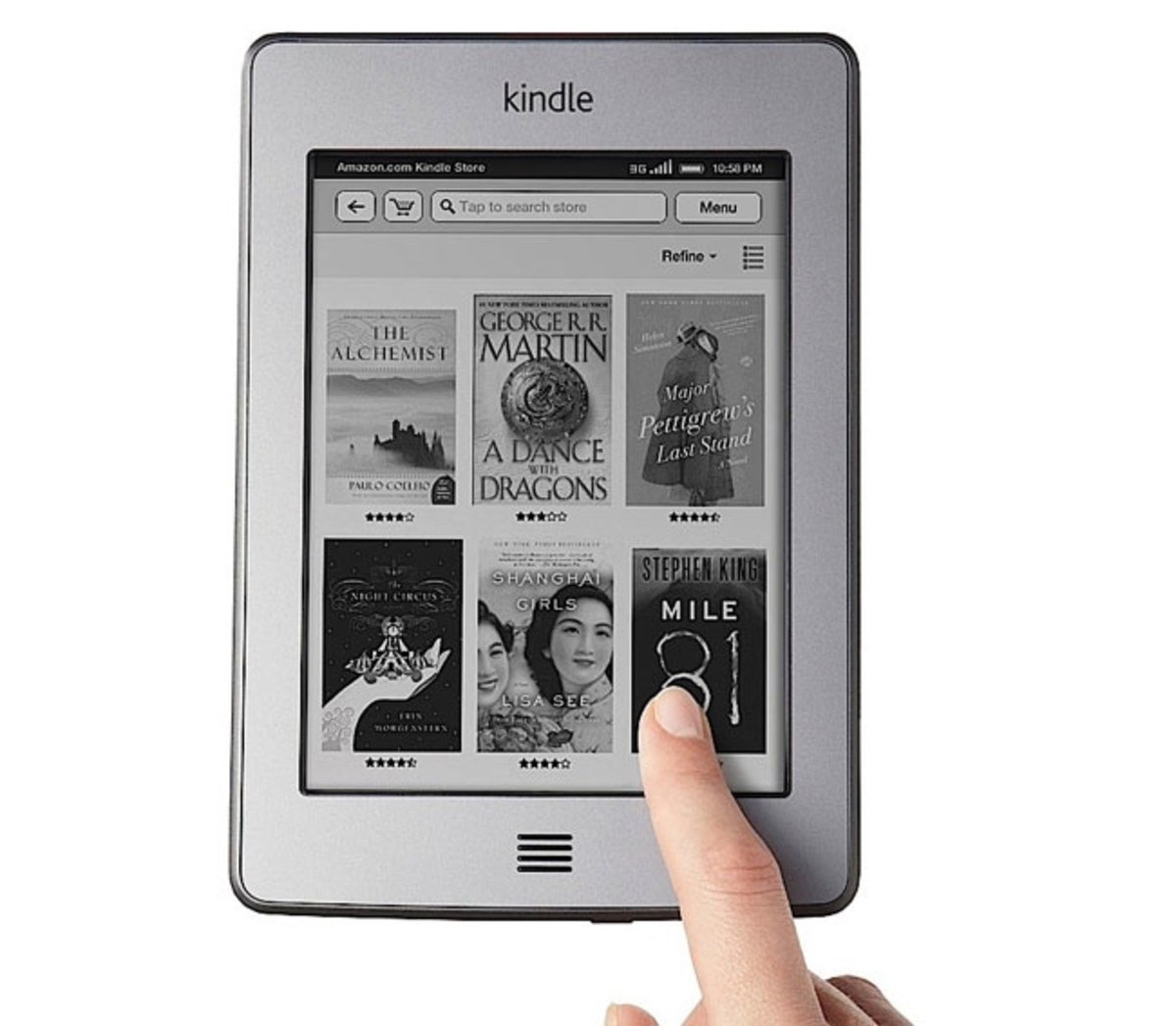 "The Kindle Touch features 4GB of storage space, Wi-Fi and 3G connectivity and a 7"" display."