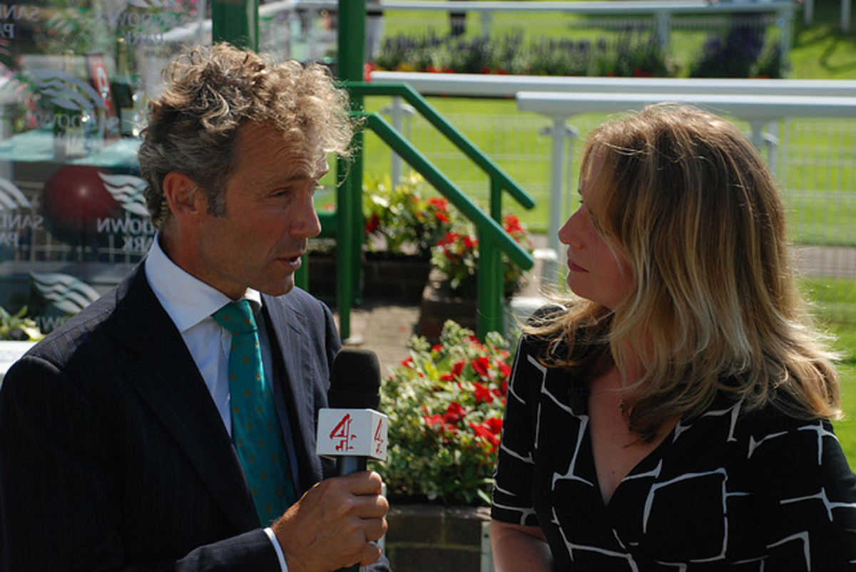 John Francome interviews Alice Plunkett while working as a pundit for Channel 4 Racing in the UK