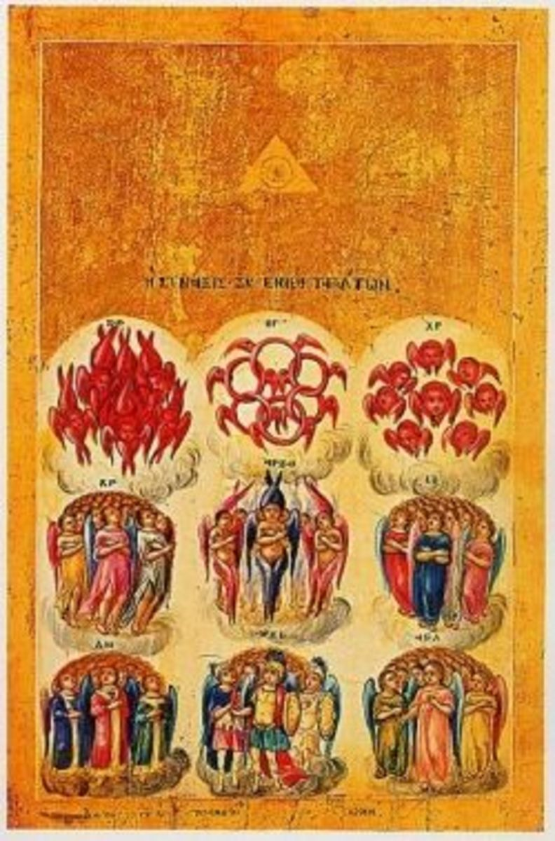 Orders of Angels: Icon of Nine orders of angels (Greece, 18 c.?) depicted with an illuminated triangle, symbolising the Male energy not usually seen or used in Biblical symbology, particularly when denoting power. Date before 19 c.