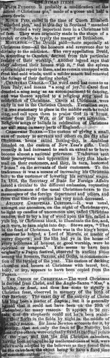 Definitions of Christmas items published in a Victorian Newspaper