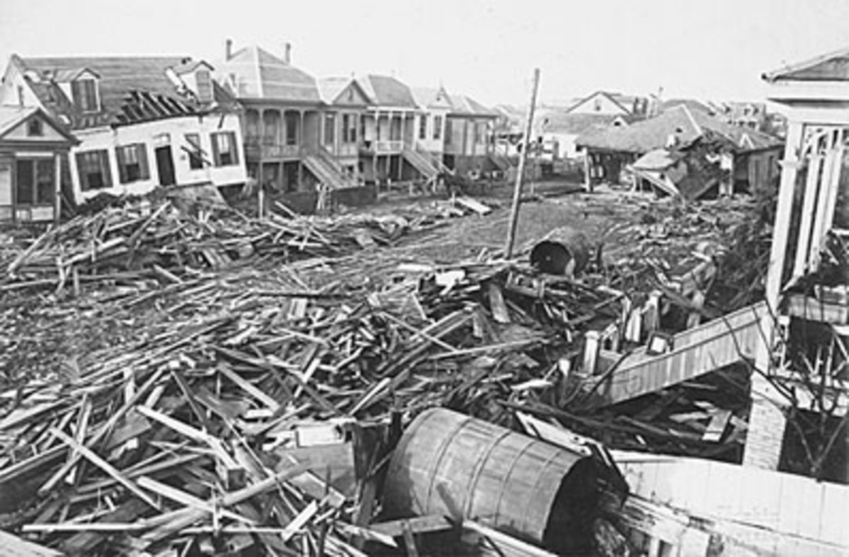 A common sight after the storm had completely destroyed Galveston, TX.