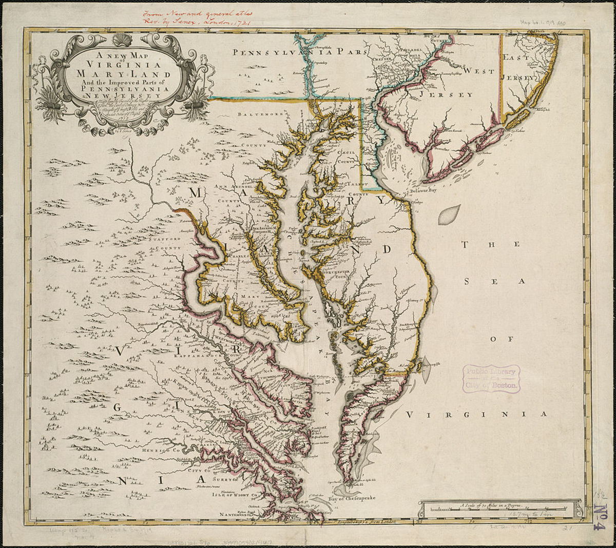 A map of the Virginia Colonies dated 1721.