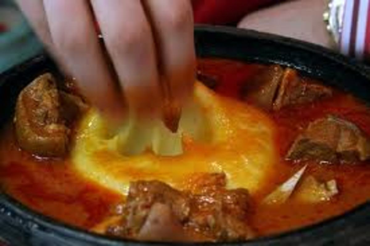 What are they eating in the Ivory Coast? FuFu and washing it down with Bangui.